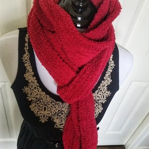 Long Fuzzy Red Scarf